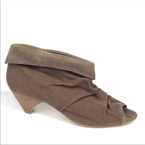 Daniblack Shoes - ❤️Daniblack Brown Peeptoe Canvas Suede Ankle Boots